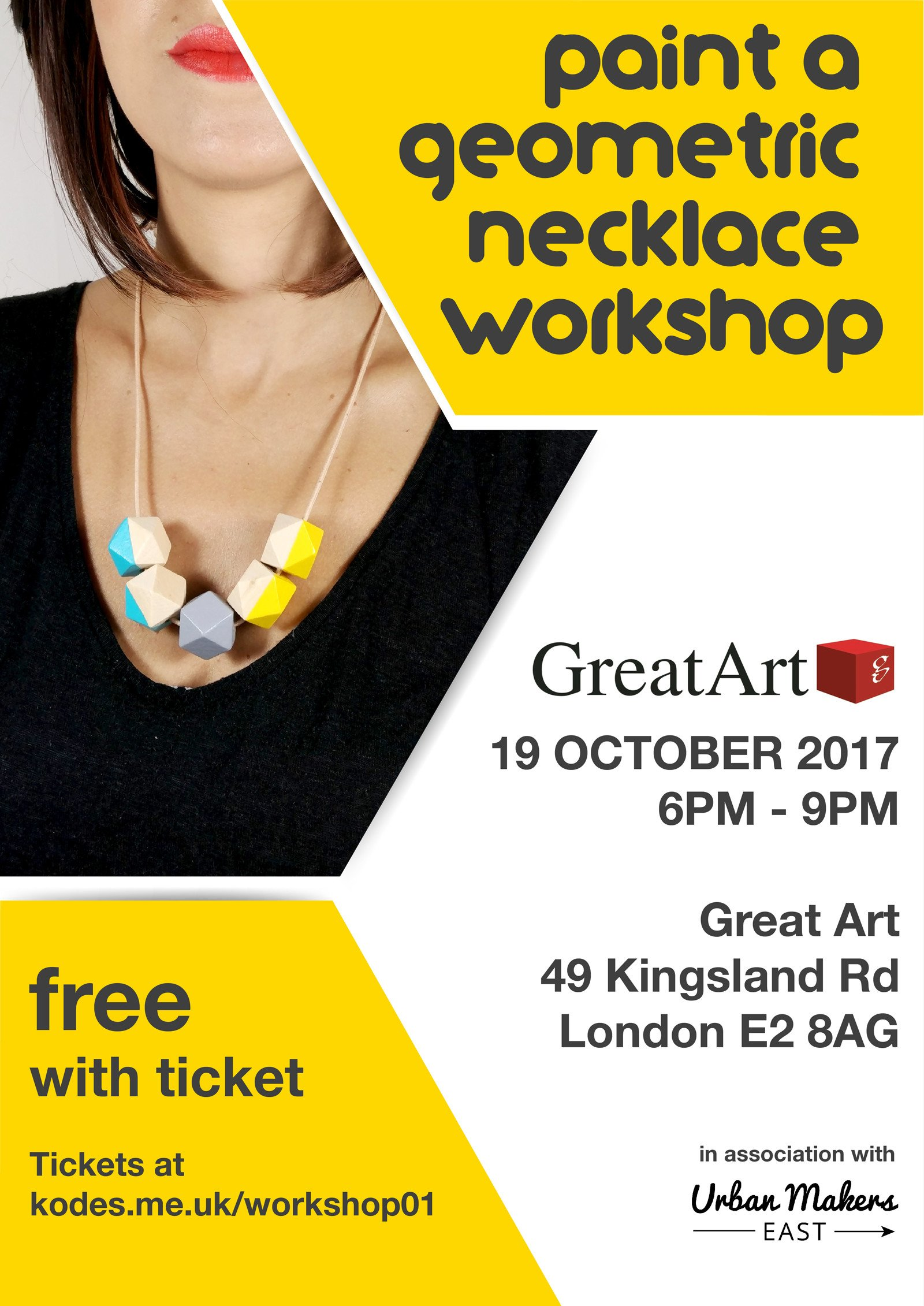 Kodes Accessorries Workshop Paint your own Geometric Necklace